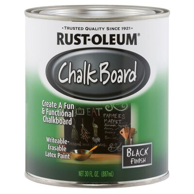 Rust-Oleum Interior Latex Chalkboard Paint Black Flat 1 qt.
