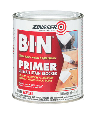 Zinsser BIN Shellac-Based Interior and Exterior Primer and Sealer 1 qt. White