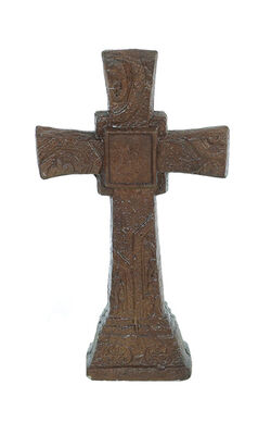 "Statue Ancient Brown Cross 22""H"