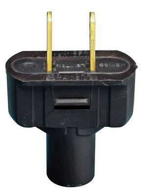 Leviton Residential Vinyl Non-Polarized Plug 1-15P 18-14 AWG 2 Wire Black