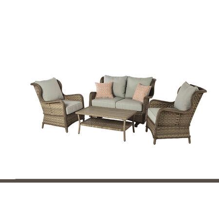 Living Accents Ulanda Ulanda 4 person Brown Aluminum Deep Seating Seating Set