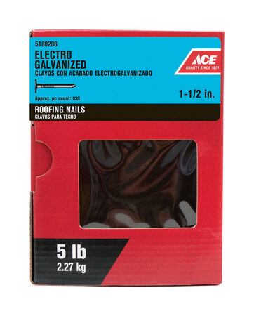 Ace Large 1-1/2 in. L Roofing Nail Smooth Electro-Galvanized Steel 5 lb.