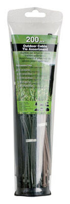 "Gardner Bender 4"" 8"" L Black Tan Olive Cable Tie 200 pk"