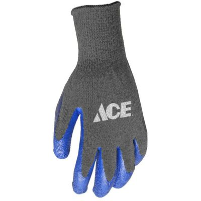 Ace Blue/Gray Men's Large Latex Coated Work Gloves
