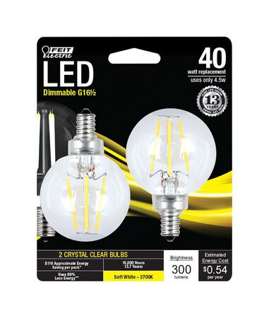 FEIT Electric LED Bulb 4.5 watts 300 lumens 2700 K Globe G16-1/2 Soft White 40 watts equivalenc