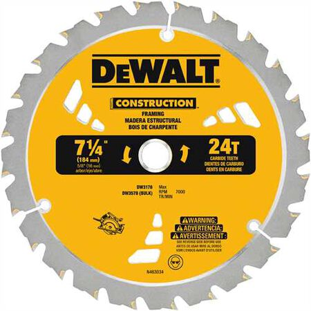 "7-1/4"" 24T Carbide Thin Kerf Framing Blade"