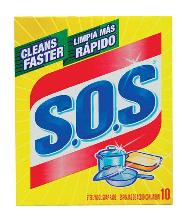 S.O.S. For Multi-Purpose Steel Wool Soap Pads 10 pk