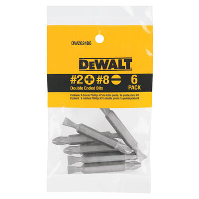 DeWalt #2/#8 in. Phillips/Slotted Double Ended Screwdriver Bit 1/4 in. Dia. 6 pc.