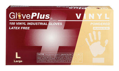 Gloveplus Vinyl Industrial Gloves Large 100 pk Clear
