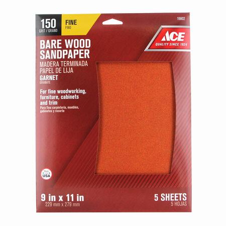 Ace 11 in. L x 9 in. W 150 Grit Aluminum Oxide Sandpaper 5 pk