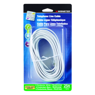 Monster Cable 25 ft. L White Modular Telephone Cable