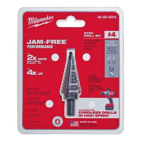 Milwaukee JAM-FREE 3/16 - 7/8 in. Dia. x 6 in. L Black Oxide Step Drill Bit 1 pc.