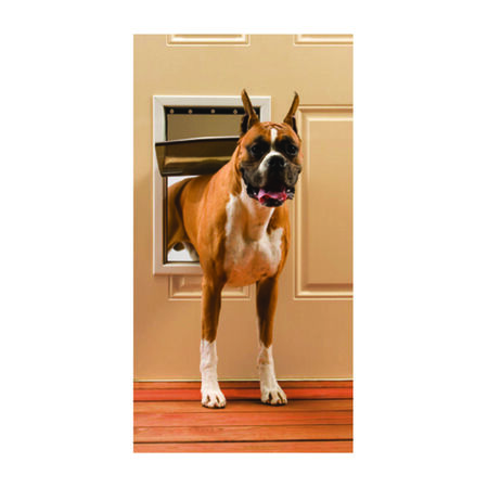 Petsafe Pet Door Large For Pets up to 100 lb. 10-1/8 in. x 15-3/4 in. White Aluminum