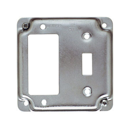 Raco Square Steel 2 gang Electrical Cover For 1 GFCI Receptacle and 1 Toggle Switch Silver