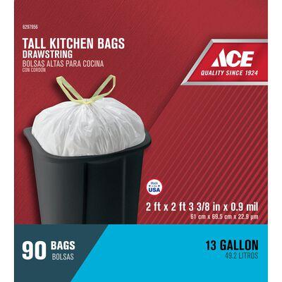 Ace 13 gal. Tall Kitchen Bags Drawstring 90 pk