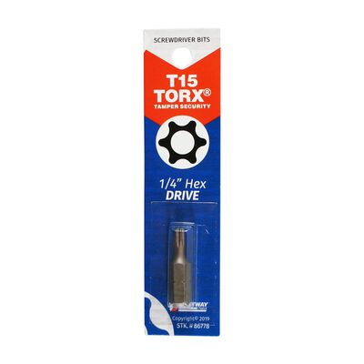 Best Way Tools T15 Torx Screwdriver Bit 1/4 in. Dia. x 1 in. L 1 pc.