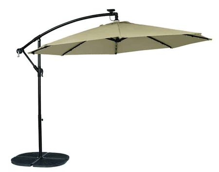 Living Accents 10 ft. Tiltable Tan Offset Patio Umbrella