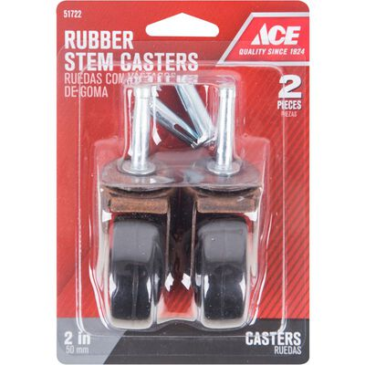 Ace Rubber 2 in. Dia. Swivel Copper/Black Caster 80 lb. 2 pk