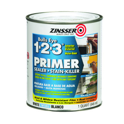 Zinsser Bulls Eye 123 Water-Based Interior and Exterior Primer and Sealer 1 qt. White