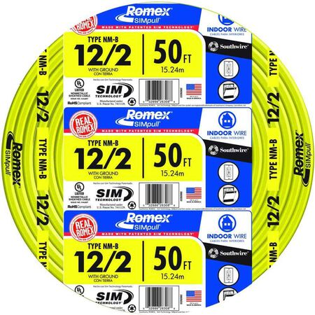 Southwire 50 ft. 12/2 Romex Type NM-B WG Non-Metallic Wire Yellow
