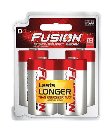 Rayovac Fusion D Alkaline Batteries 4 pk