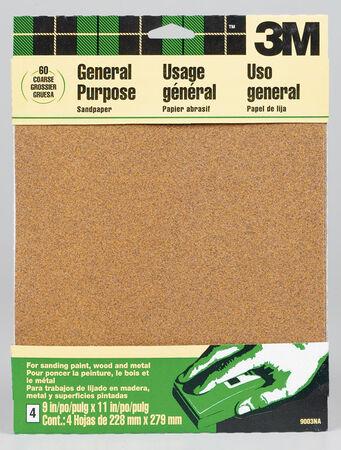 3M Aluminum Oxide Sandpaper 11 in. L 60 Grit Coarse 4 pk