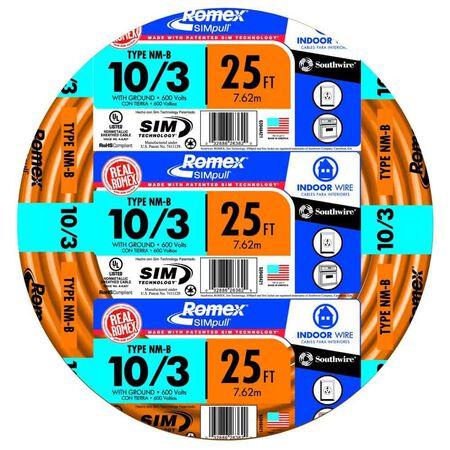 Southwire 25 ft. 10/3 Romex Type NM-B WG Non-Metallic Wire Orange