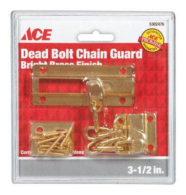 Ace 3.5 in. L Bright Brass Dead Bolt Chain Guard