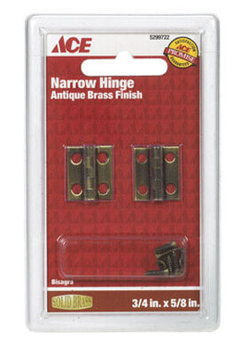 Ace 3/4 in. L Narrow Hinge Antique Brass