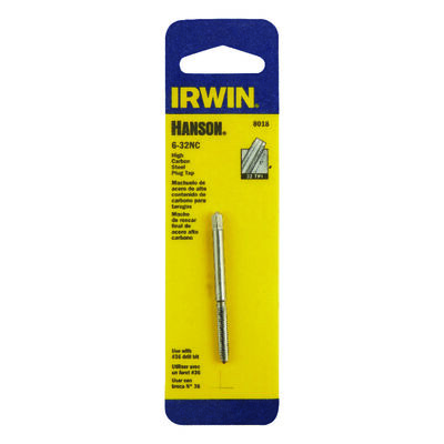 Irwin Hanson High Carbon Steel 6-32NC SAE Plug Tap 1 pc.