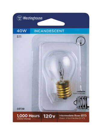 Westinghouse Incandescent Light Bulb 40 watts 355 lumens 2700 K S11 Intermediate Base (E17) Whit