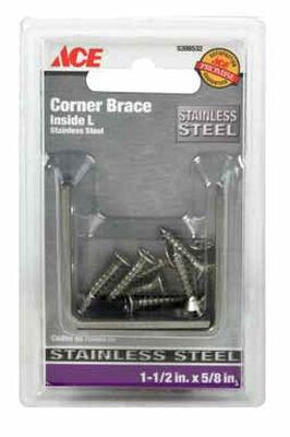 Ace Inside L Corner Brace 1-1/2 in. x 5/8 in. Stainless Steel