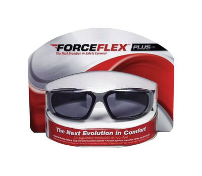 3M ForceFlex Plus Impact Safety Glasses Gray Lens Black Frame Blister Pack