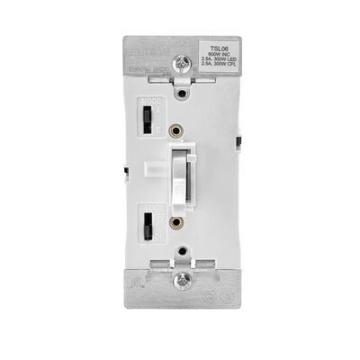Leviton 2.5 amps 600W-120VAC Incandescent Toggle Dimmer Switch White