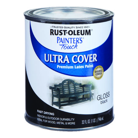 Rust-Oleum Painters Touch Ultra Cover Gloss Black Water-Based Acrylic Paint Indoor and Outdoo