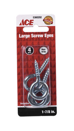 Ace 1/4 17/8 in. L Zinc-Plated Steel Screw Eye 4 pk