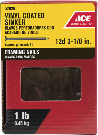 Ace Checkered 3-1/8 in. L Sinker Nail Screw Vinyl 1 lb.