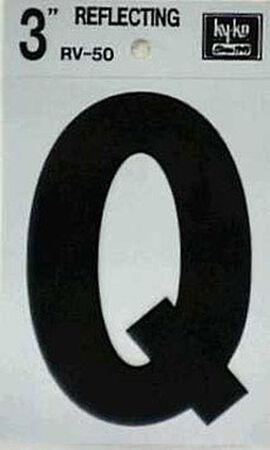 Hy-Ko Self-Adhesive Black 3 in. Reflective Vinyl Letter Q