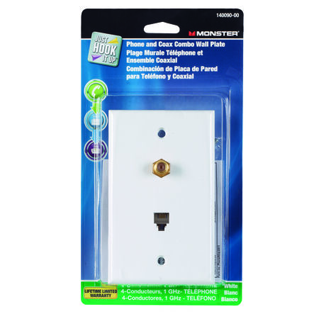 Monster Cable Just Hook It Up 1 gang White Cable/Telco Wall Plate