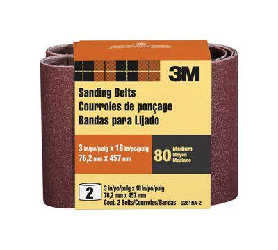 3M Sanding Belt 3 in. W x 18 in. L 80 Grit Medium 2 pk