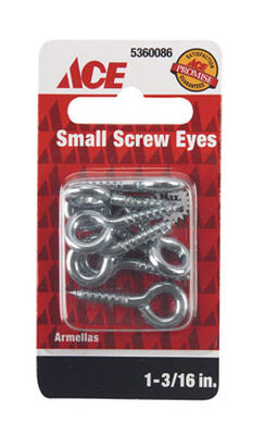 Ace 1/8 1-3/16 in. L Zinc-Plated Steel Screw Eye 8 pk