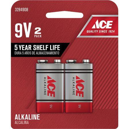 Ace 9V Alkaline Batteries 9 volts 2 pk