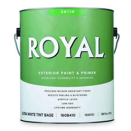 Royal Satin Ultra White Base Acrylic Latex Paint + Primer Outdoor 1 gal.