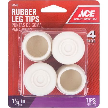 Ace Rubber Round Leg Tip Off-White 1-1/8 in. W 4 pk