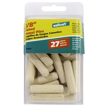 Wolfcraft Fluted Birch Dowel Pin 3/8 in. Dia. x 3/8 in. L