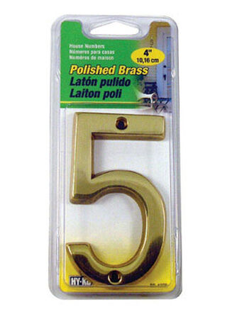 Hy-Ko Nail On 4 in. Polished Brass Number 5