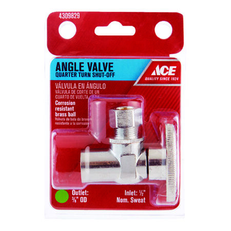 Ace 1/2 in. Dia. x 3/8 in. Dia. Ball Shut-Off Valve Brass
