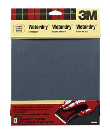 3M 11 in. L x 9 in. W Assorted Grit Silicon Carbide Sandpaper 5 pk
