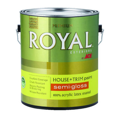 Ace Royal Acrylic Latex House & Trim Paint & Primer Semi-Gloss 1 gal. Hi Hiding White