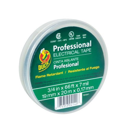 Duck 3/4 in. W x 66 ft. L Vinyl Electrical Tape Green